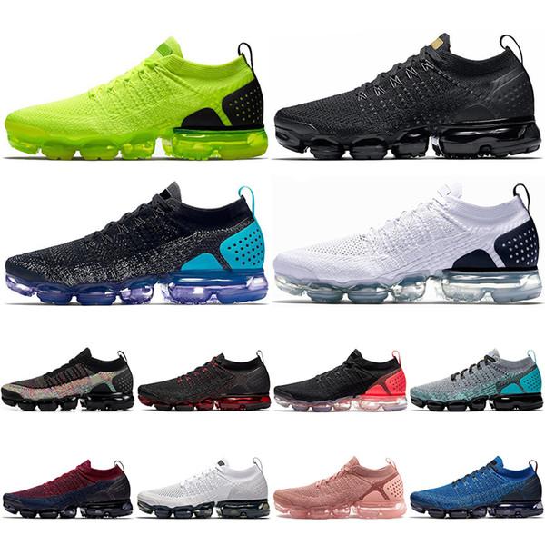 Großhandel Nike Air Vapormax Flyknit 2.0 Mit Socken 2019 Fashion Fly 2.0 Laufschuhe Herren Damen Volt Triple Schwarz Weiß Olympic Knit Herren