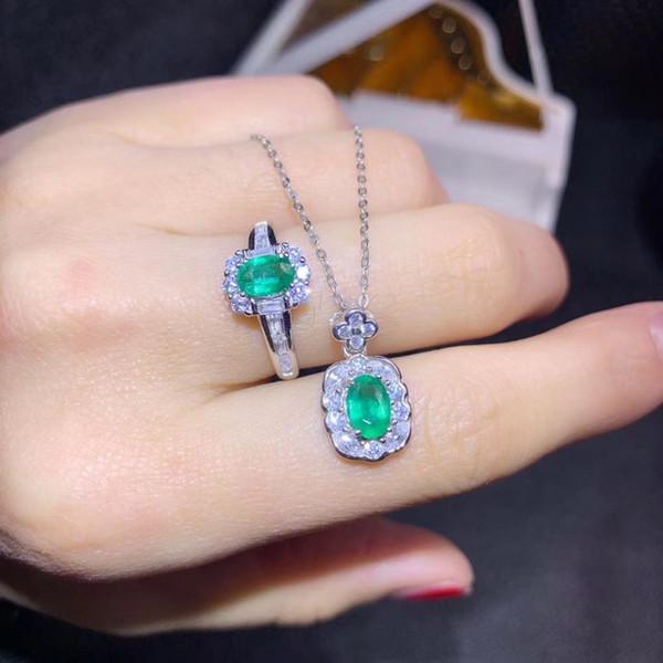 affascinante collana verde naturale smeraldo anello gemma impostato in argento 925 perla naturale del regalo della festa di compleanno di colore buon anno nuovo