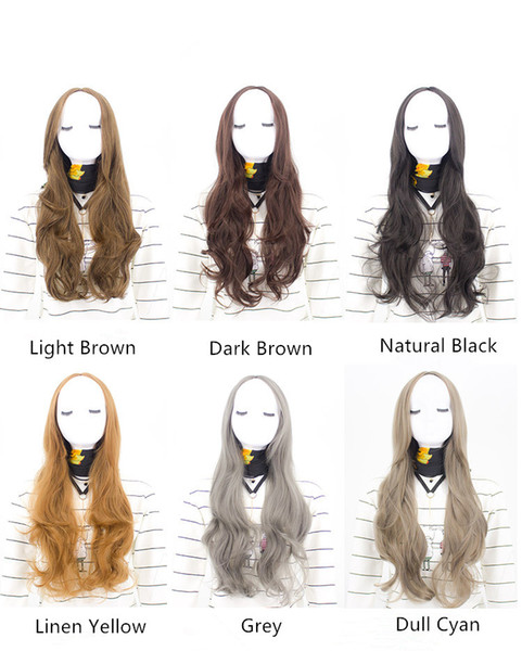 Hot Synthetic Body Wave Wigs Grey Hair wig Machine made 9 colors 72cm Cosplay Free shipping