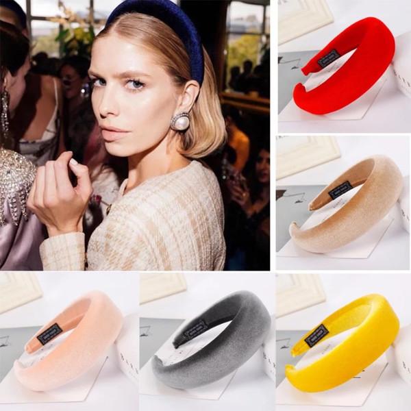 INS Hot Sponge Ring Headband Candy Color Flannel Headband Velvet Sponge Hair Wrap 17 Colors Fashion Women Jewelry