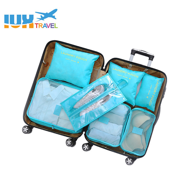 New 7PCS Women Travel Bag Clothes Underwear Bra Packing Cube Luggage Organizer Pouch Family Closet Divider Organiser Bags