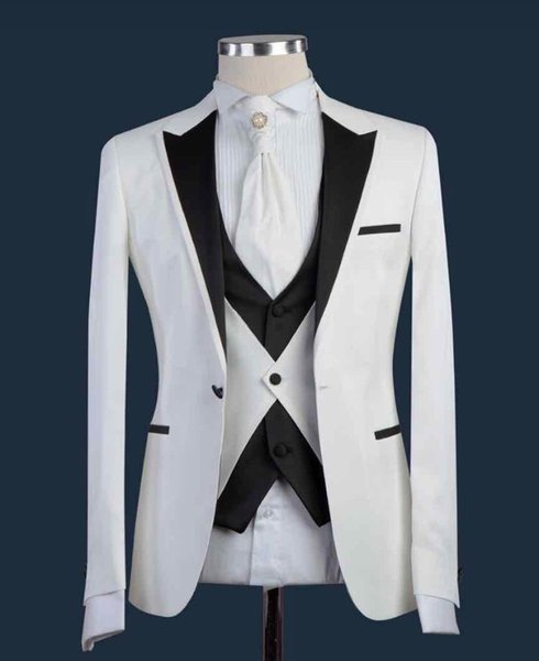 New Design White Men Suit Black Lapel Formal Groom Tuxedos Slim Fit Wedding Suits Best Man Party Prom Suit Costume Homme Mariage