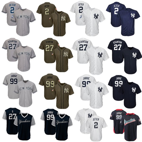 Womens New York Yankees Baseball Jerseys 99 Aaron Judge Jersey Navy Blue White Gray Grey Green Salute Players Weekend All Star Team Logo