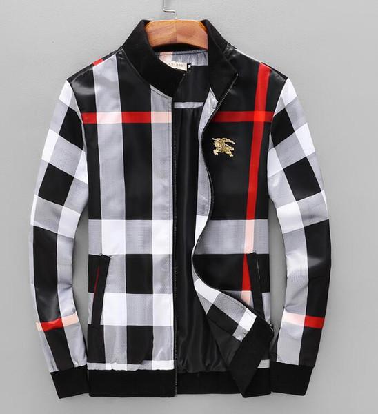 2018 primavera y verano a cuadros chaqueta de cuello de pie Nueva marca boutique de los hombres de moda chaqueta de tela escocesa 3D abrigo
