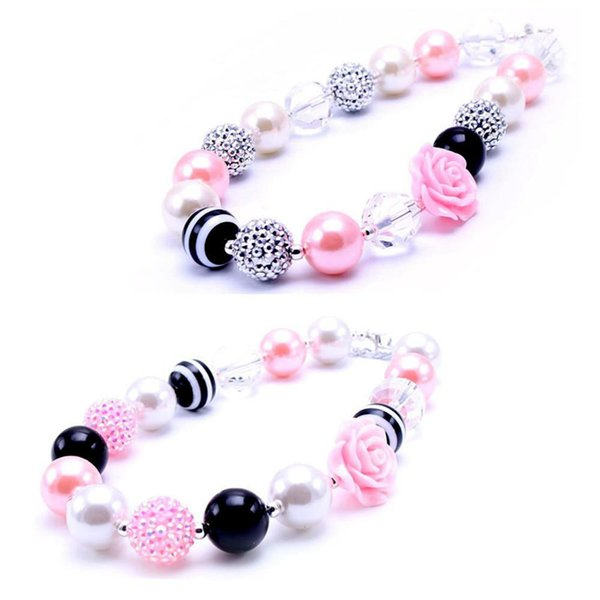 best selling Newest Design Pink+Black Flower Necklace Birthday Party Gift For Toddlers Girls Beaded Bubblegum Baby Kids Chunky Necklace Jewelry