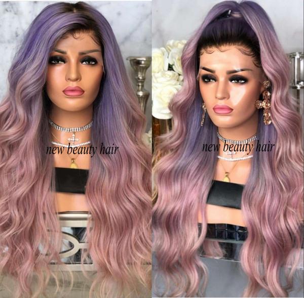Parrucca stile nuova moda celebrità 2019 Sintetica radici nere viola ombre parrucca sintetica frontale in pizzo rosa resistente ai capelli per le donne