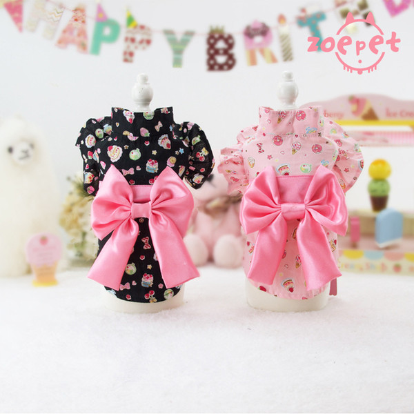 Cute Dog Apparels Bowknot Ice Cream Printed Teddy Puppy Bathrobe Japaness Bowknot Dog Kimono Halloween Pet Clothes New Pet Autumn Dresses