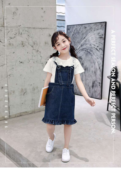 Fashion trend explosion models Korean summer girls are suitable for outing to play two-piece fishtail short-sleeved denim skirt