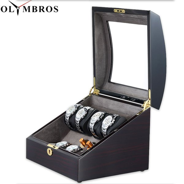 Automatic Watch Winders Box Holder,EU/US/AU/UK Type Automatic Mechanical Watch Box With Wooden Case High Gloss Piano Paint