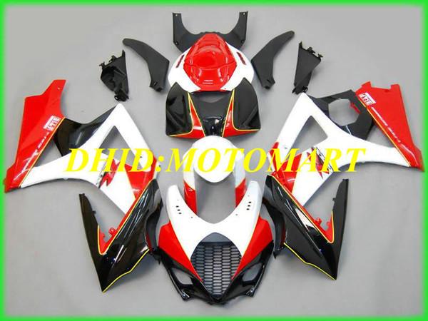 Kit de Carenagem de motocicleta para SUZUKI GSXR1000 K7 07 08 GSXR 1000 2007 2008 ABS Branco vermelho preto Carimbos + presentes SBC08