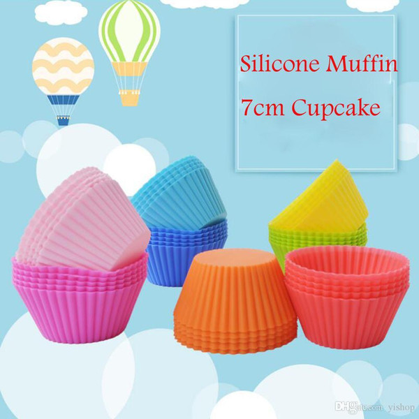 Colorful 7CM Silicone Muffin Cupcake Round Shaped Mould Bakeware Maker Mold Tray Baking Cup Liner Baking Molds Kitchen Accessories