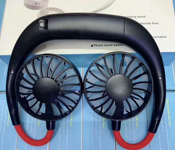 top popular Wholesale Mini Sports fan USB Portable Fan Hands-free Neck Hanging USB Charging Mini Portable fans 3 gears Usb Air Conditioner 2021