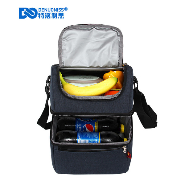 Denuoniss Fresh Keeping Lunch Bag Oxford Waterproof Collapsible Cooler Bag Insulated Storage Lunch Toe Box for Picnic