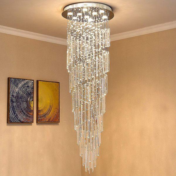 Modern K9 Crystal Spral Raindrop Chandelier Lighting Flush Mount LED Ceiling Light Fixture for Dining Room Bathroom Bedroom Livingroom