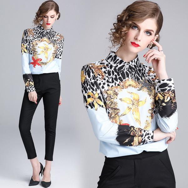 Ultime camicie a collo alto con stampa leopardo delle donne primavera autunno pista Top T-shirt da donna a maniche lunghe con bottoni sul davanti