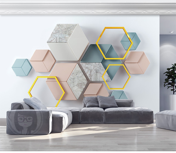 Custom Wallpaper 3d Modern Minimalist Geometric Marble Living Room Bedroom Background Wall Decoration Mural Wallpaper Free 3d Desktop Wallpaper Free