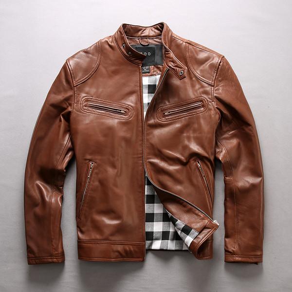 Erkek Süper Büyük Boy Ceketler Inek Deri Marka Vintage Motosiklet Biker Ceket Erkek Tasarımcı Retro Klasik Fermuar Coats