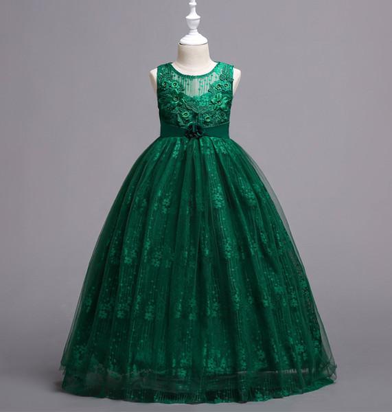Довольно синий, зеленый, фиолетовый, розовый, белый Конкурс платья для девочек Платья для девочек-цветочниц Платья принцессы Детская юбка на заказ 2-14 H313269