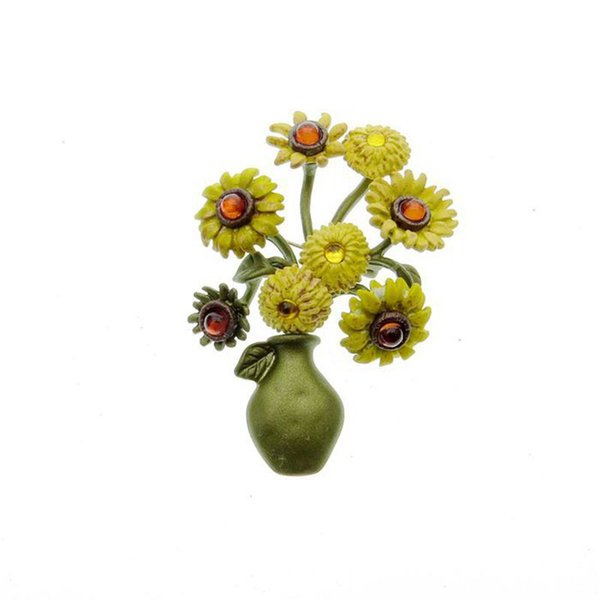 European and American Fashion Simple New Brooch Sunflower Vase Shape Baking Lacquer Brooch Creative Design Retro Brooch