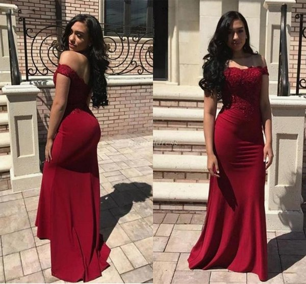Dark Red Mermaid Bridesmaid Dresses 2019 Off Shoulder Backless Floor Length Appliques Garden Country African Wedding Guest Gowns Cheap
