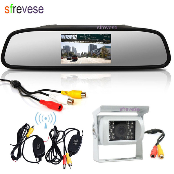 "4.3"" Vehicle LCD Mirror Monitor + Wireless Waterproof 18 IR CCD Reversing Backup Camera Car Rear View Kit Parking Assitance White"