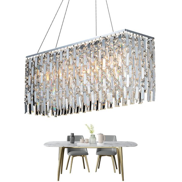 Luxus Moderne Kristall Kronleuchter Für Esszimmer Rechteck LED Lüster De Cristal Kücheninsel Hängen Leuchte