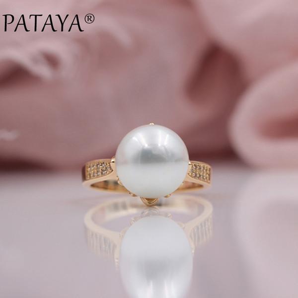 Pataya New Trendy Micro-wax Inlay Natural Zircon Sea Shell Pearls Rings 585 Rose Gold Women Wedding Party Luxury Fine Jewelry C19041704