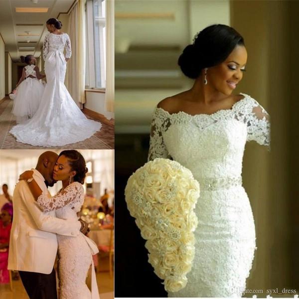 2019 robes de mariée en dentelle de mariée Vintage Full robes de mariée manches 3/4 appliques perles africaine mariée zippée Retour