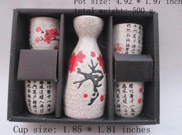 China jingdezhen porcelain Japanese cherry blossoms. Hip flask suit
