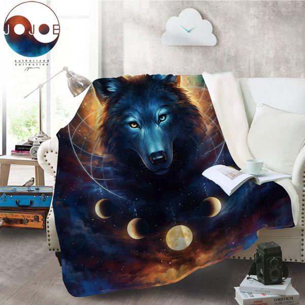 Dream Catcher par JoJoesArt Couverture en flanelle Wolf Couverture en laine polaire corail Eclipse Moon Couvre-lit en drap chaud Galaxy Print 130x150