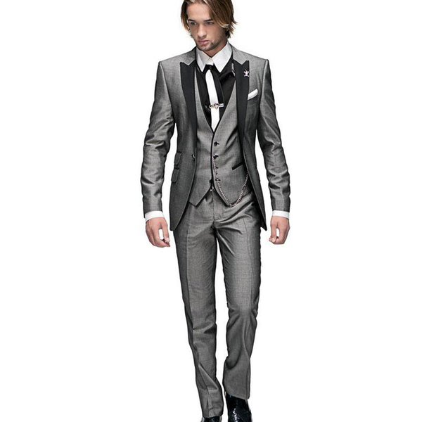 Italian Mens Wedding Suits 3 Pieces Slim Fit Jacket+Pants+Vest Custom Groom Tuxedo Suits for Wedding Prom Suit