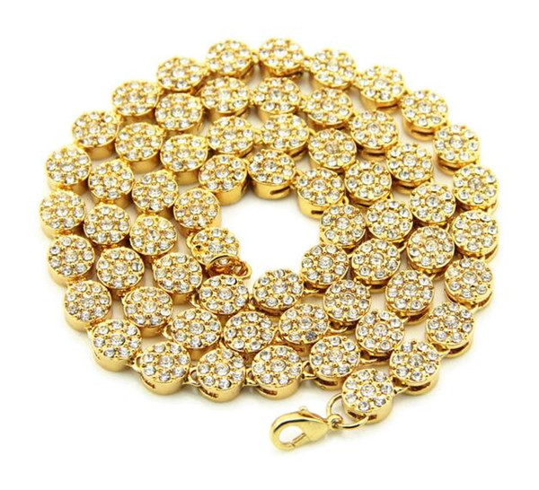 18K gold-plated Hip hop wind flash drill men's round single row large gold chain Cuban chain Water Diamond 30 inch hip hop necklace