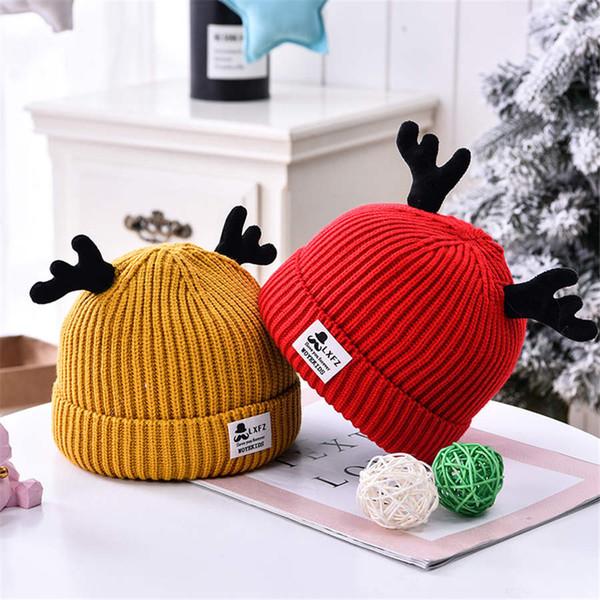 Natale cappello di lana di renna bambino maglia autunno e in inverno i bambini, più le ragazze di velluto corna bambino cappello caldo infantile 0-3 anni