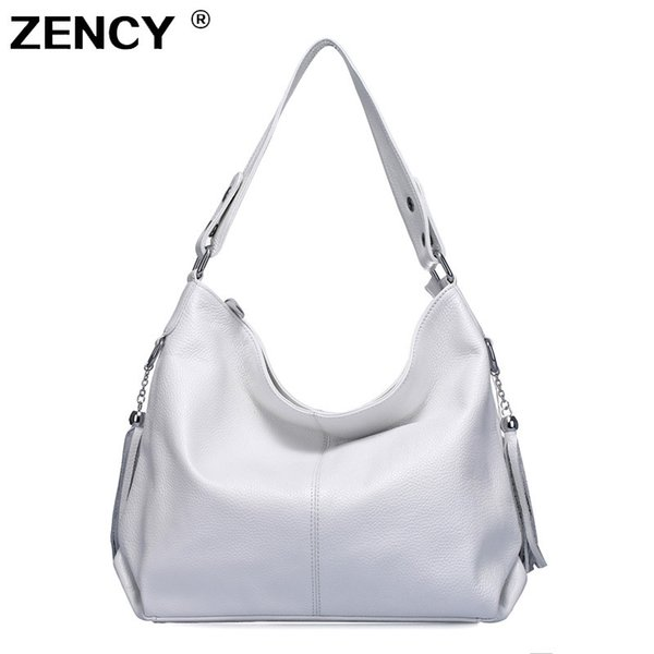 100% Genuine Leather Women Handbag First Layer Cow Leather Long Handle Messenger Shoulder Bag Satchel White Silver Bags
