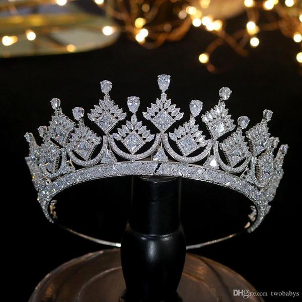 Luxe Princess Crown Coiffe bijoux de mariée Couronne accessoires bijoux de mariage Coiffe de fête de cadeau couronne Zircon