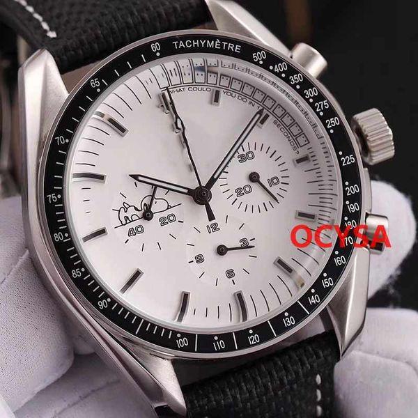 De lujo para hombre Cronógrafo de cuarzo hombres Snoopy 007 DIVER 300 M hebilla plegable hombre relojes Orologio Montre relojes de pulsera