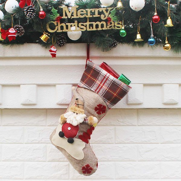 Small Pendant Cartoon Hanging Christmas Stocking Soft Home Kids Tree Decoration Gift Bag Cute Candy Supplies Party Cloth
