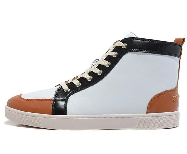 Ünlü Yeni erkekler ve kadınlar tasarımcı spor ayakkabı marka kırmızı alt tasarımcı erkekler lüks ayakkabı Kahverengimsi sarı hakiki deri ayak daireler