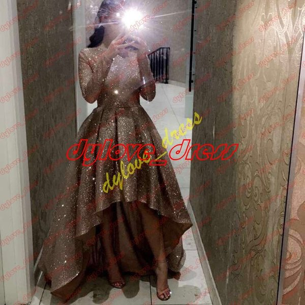2019 sexy long sleeve sequined high low short plus size african gold prom dresses vestidos de fiesta arabic cocktail dress evening gowns