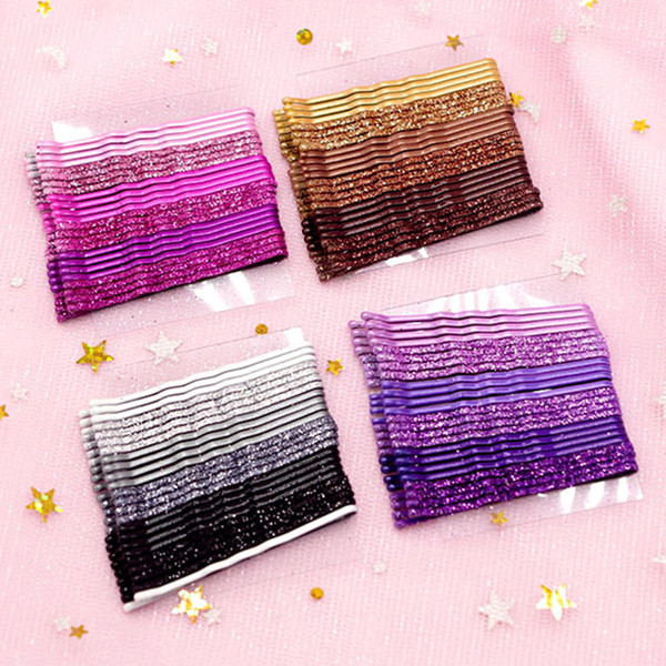 24pcs Glitter Hair Clip Styling Accessories Wavy Hairpins Metal Barrettes Gradient Color Bobby Pins for Women Girls