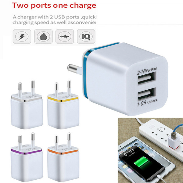 top popular Metal Dual USB wall Charging Charger US EU Plug 2.1A AC Power Adapter Wall Charger Plug 2 port for Iphone Samsung Galaxy Note LG Tablet Ipad 2021