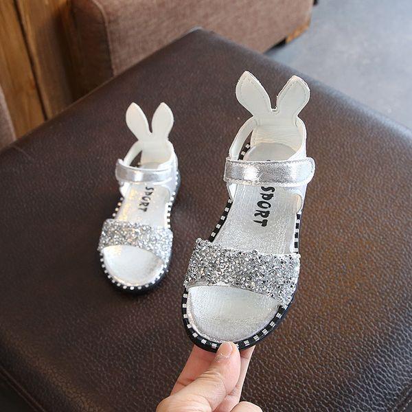 2019 verão sandálias das meninas meninas lantejoulas strass roman sapatos saco com o dedo do pé exposto sapatos de bebê bonito estudante