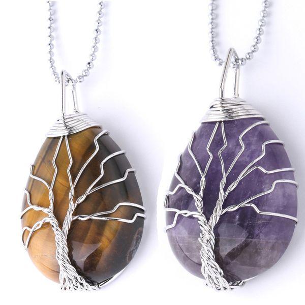 Naturstein kristall Tigerauge Baum des Lebens Anhänger Halskette für Frauen Männer Wire Wrap Wassertropfen Halskette Schmuck gold kette