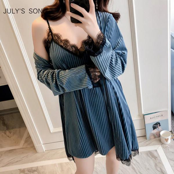 July's Song Winter Gold Velvet Robe Gown Set Autumn Sexy Lace Sling 2 Peices Women Sleepwear Pajamas Bathrobe Q190513