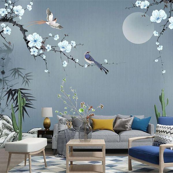 3D обои в китайском стиле ручная роспись камень бамбук листья сливы фото настенные росписи гостиная телевизор диван спальня фрески