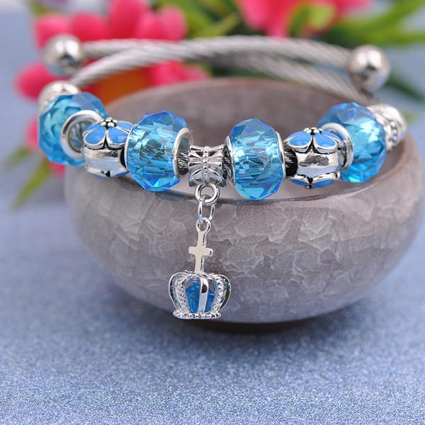 Titanium Steel Wire Charms Bracelets Fit Pandora Women Blue Murano Glass Crystal Beads Big Hole Bangle Silver Cross Pendant Jewelry Best4UU