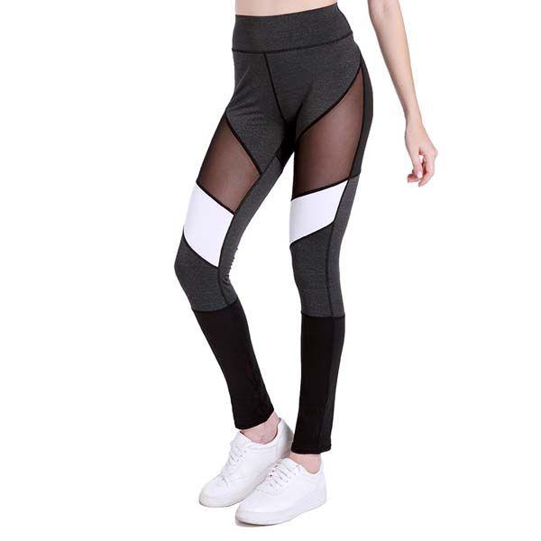 Fitness Leggings Mesh Stripe Women Black New Fashion Patchwork Leggings School Exercise Leggins Female Elastic Pant Capri
