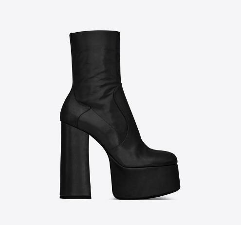 Women Genuine Leather Billy Platform Bootie Thick Covered Heel Side Zipper Fashion Pop New Paris Boots Shoes