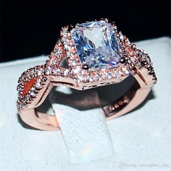 Eternal 925 Silver rose gold Jewelry Princess-cut 6CT square White Topaz Diamond Rings finger Wedding Band Ring para mujeres talla 5-11