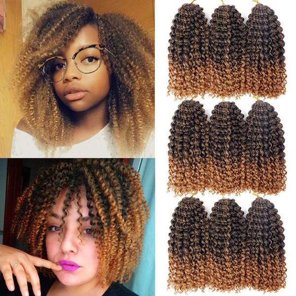 Hot! 8 Inch Marlybob Kinky Crochet Hair Synthetic Malibob Crochet Hair Extensions Short Ombre Afro Jerry Curl Braids Hair 9 Pcs/Lot (1B/27#)